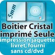 CD DVD Gravure & Packaging Boitier cristal5.2mm imprimée seule sans cd dvd