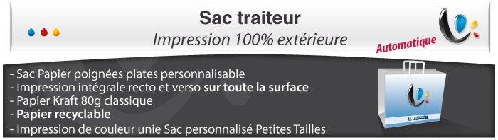 Sac Publicitaire Sac Papier poignées plates - Impression totale éxterieur - Pour traiteur