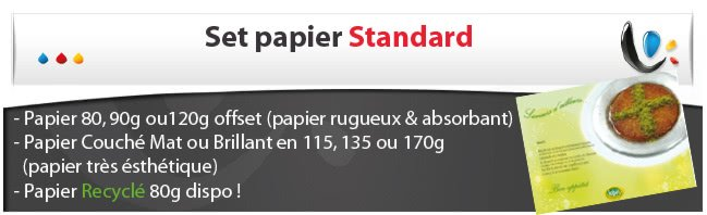 set table encart Set en papier STANDARD