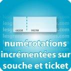 Carnets de tickets Numérotation (incrémenté) sur souche et ticket