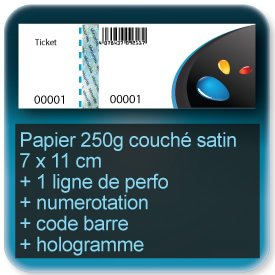 Carnets de tickets 70x110 papier couché 200g satiné, talon détachable + hologramme + numerotation + code barre