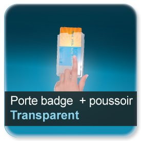 Badge Porte-badge plastique de protection extraction de carte par poussoir pour badge 86x54mm épaisseur 0,5 ou 0,76mm - ref7941