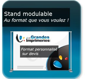 Kakémono / roll up Stand modulable simple - Support aluminium reglable - montage simple sans outils - livré avec sac de transport
