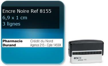 Tampon personnalisé 69x10 mm - 3 lignes max spécial pour cheque (ref8155) - encre noir - livré avec 1 recharge (ref8300)