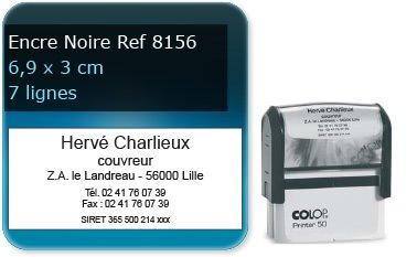 Tampon personnalisé 69x30 mm - 7 lignes max (ref8156) - encre noir - livré avec 1 recharge (ref8310)