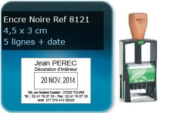 Tampon personnalisé 45x30 mm - 5 lignes max + date (ref8121) - encre noir - livré avec 1 recharge (ref8230)