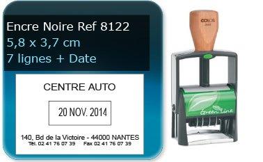 Tampon personnalisé 58x37 mm - 7 lignes max + date (ref8122) - encre noir - livré avec 1 recharge (ref8240)