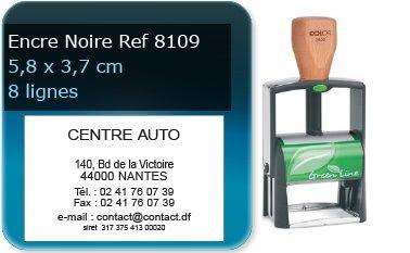 Tampon personnalisé 58x37 mm - 8 lignes max (ref8109) - encre noir - livré avec 1 recharge (ref8240)