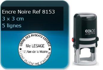 Tampon personnalisé Rond 30 x 30 mm - 5 lignes max (ref8153) - encre noir - livré avec 1 recharge (ref8280)