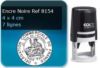 Tampon personnalisé Rond 40 x 40 mm - 7 lignes max (ref8154) - encre noir - livré avec 1 recharge (ref8290)